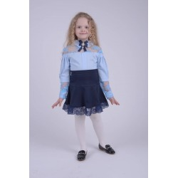 Блуза гипюр голубая