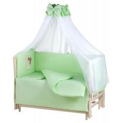 Детская постель Qvatro Ellite AE-08 аппликация салатовый (мишка сидит с коричневым сердцем)